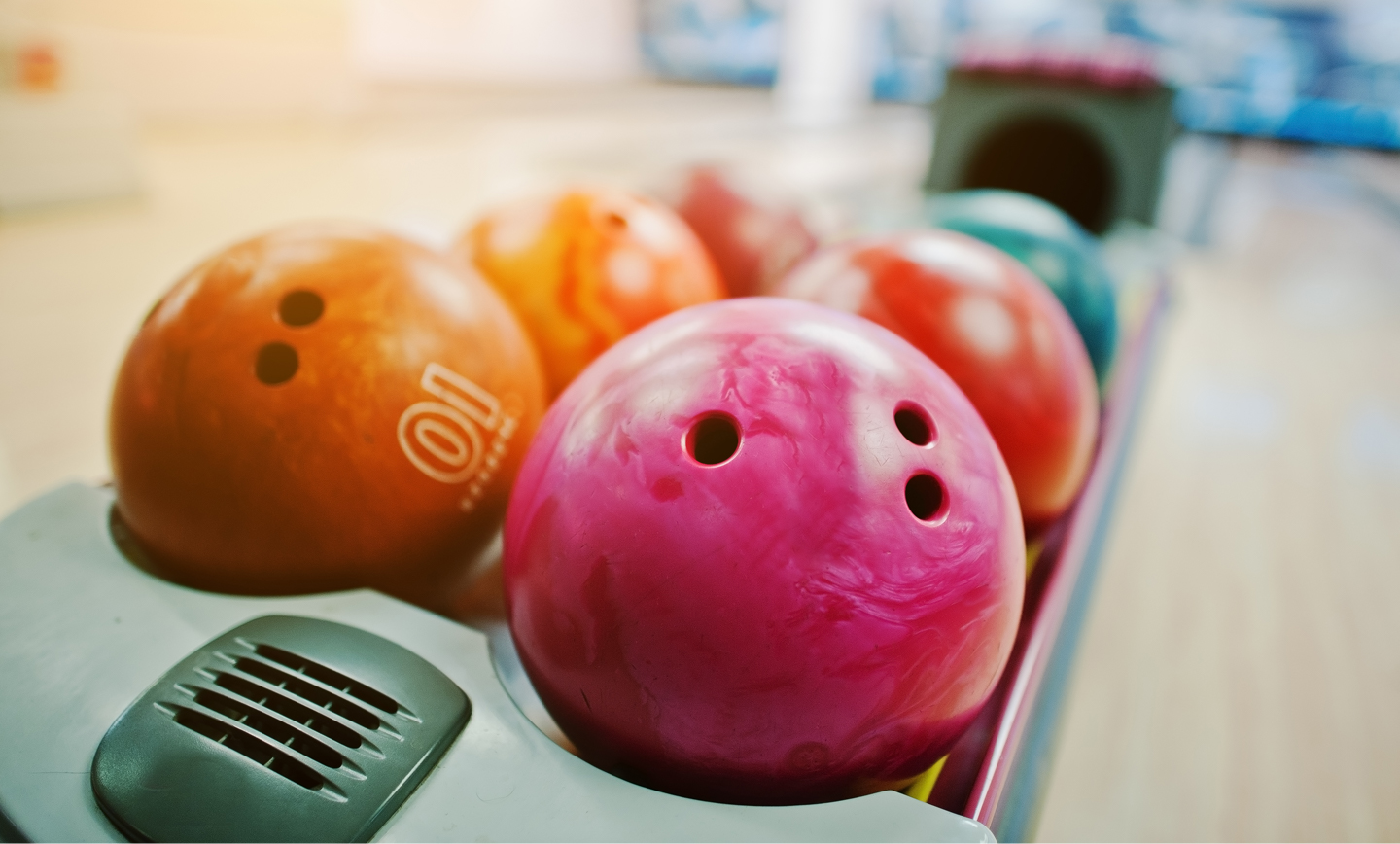 Picture of multi coloured bowling balls